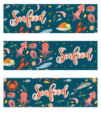 Sea food horizontal banner, flat style. Seafood template for your design. Underwater world,  life. Vector illustration. Sea food horizontal banner, flat style Royalty Free Stock Photography