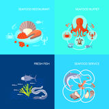 Sea Food Icon Flat. Sea food design concept set with fresh fish buffet and restaurant flat icons isolated vector illustration Royalty Free Stock Images