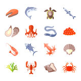 Sea Food Icon Flat. Set with lobster salmon shrimp isolated vector illustration Stock Photos