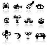 Sea food  icon set. Sea food icons set  on grey background.EPS file available Stock Images