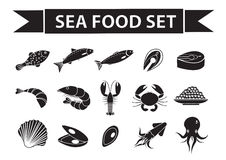 Sea food icons set vector, silhouette, shadow style. Seafood collection isolated on white background. Fish products Royalty Free Stock Photos