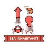 Sea food icons. Vector icons set of a sea inhabitants that is traditionally used in Japanese cuisine on withe background with lettering on a ribbon. Japanese Royalty Free Stock Photography