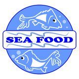 Sea food label or billboard with two cute fish cartoons. Designed in blue circle with inscription Sea food. Eps 10 . Useful Stock Image