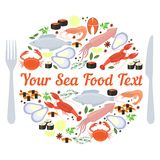 Sea food label. Vector sea food label with fork and knife on white background Stock Photo