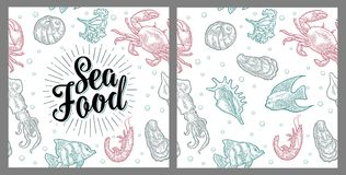 Sea food lettering and seamless pattern shell, crab, shrimp, fish. Sea food lettering and seamless pattern shell, cuttlefish, oyster, crab, shrimp, seaweed Royalty Free Stock Photo