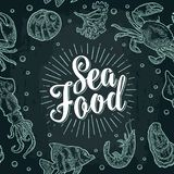 Sea food lettering and seamless pattern shell, crab, shrimp, fish. Sea food lettering and seamless pattern shell, cuttlefish, oyster, crab, shrimp, seaweed Stock Photos