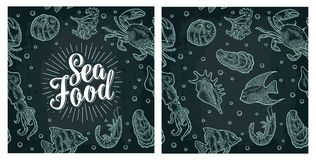 Sea food lettering and seamless pattern shell, crab, shrimp, fish. Sea food lettering and seamless pattern shell, cuttlefish, oyster, crab, shrimp, seaweed Royalty Free Stock Images