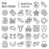Sea food line icon set, ocean symbols collection, vector sketches, logo illustrations, animal signs linear pictograms. Package isolated on white background, eps royalty free illustration