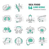 Sea food line icons set for web and mobile design. Sea food line icons set for web and mobile Royalty Free Stock Photos