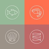 Sea food linear icons set 01 Royalty Free Stock Photography