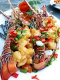 Sea food of lobsters. Salted shrimp. royalty free stock image