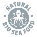Sea food logo, simple gray style. Sea food logo. Simple illustration of sea food vector logo for web Stock Images