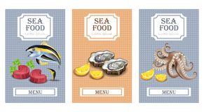 Sea food menu cards Vector realistic. Layout Template with oysters, tuna fish and octopus. Sea food menu card Vector realistic. Layout Template with oysters Royalty Free Stock Image