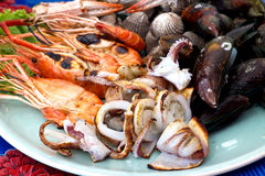 Sea food mix Stock Photos