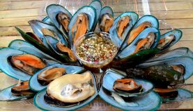 Sea food. Mussel#food#sea food#thai foods Royalty Free Stock Photos
