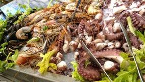 Sea Food - Octopus, Shrimps, Crabs, Shells Stock Photography