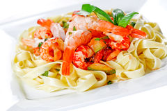 Sea food pasta. With creamy sauce Royalty Free Stock Image