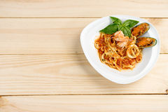 Sea food pasta wiht shrimp shell Royalty Free Stock Photo