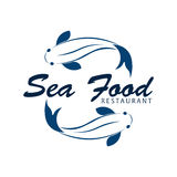 Sea food restaurant and fish. Vector logo. Stock Images
