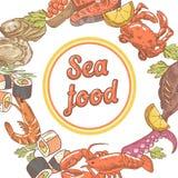 Sea Food Restaurant Menu Design. Fish, Crab and Oysters Hand Drawn illustration. Sea Food Restaurant Menu Design. Fish, Crab and Oysters Hand Drawn vector Royalty Free Stock Image