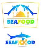 Sea food restaurant shark logo Stock Photo