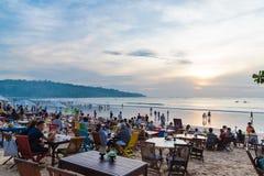 Sea Food Restaurants On Jimbaran Beach In Bali, Indonesia Stock Images