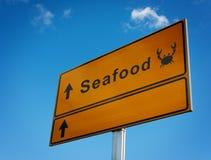 Sea food road sign. Royalty Free Stock Photos