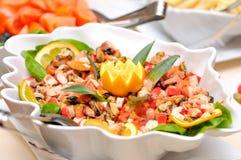 Sea food salad. Colorful sea food salad closeup Royalty Free Stock Images