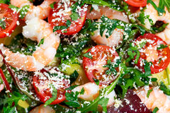 Sea Food salad with Shrimp, avocado and vegetables Royalty Free Stock Photos