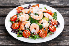 Sea Food salad with Shrimp and vegetables Royalty Free Stock Images