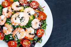 Sea Food salad with Shrimp and vegetables Royalty Free Stock Image