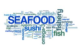Sea food. Seafood cuisine - fish and shellfish based diet. Word cloud sign Stock Photos