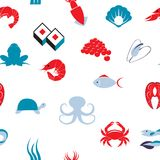 Sea food seamless pattern Stock Images