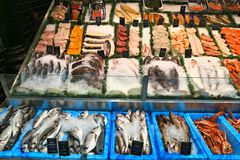 Sea food shop royalty free stock photography