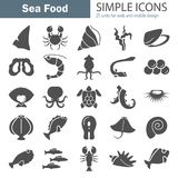 Sea food simple icons set for web and mobile design. Sea food simple icons set for web and mobile Stock Photography