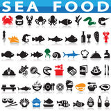 Sea Food. Simple Set of Sea Food Related Vector Icons. Contains Such Icons as Oyster, Crab, Sea Shell and more Royalty Free Stock Photography
