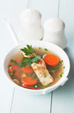 Sea food soup with cod fish steak Royalty Free Stock Photo