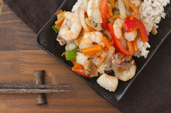 Sea food stir fry Stock Image