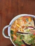 Sea food tom yum in pot stock images