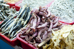 Sea food of Traditional fishing market Royalty Free Stock Image