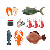 Sea food vector illustration. Seafood flat tasty cooking delicious vector illustration. Can be used for layout, advertising and web design. Gourmet restaurant Royalty Free Stock Images