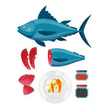 Sea food vector illustration. Seafood flat tasty cooking delicious vector illustration. Can be used for layout, advertising and web design. Gourmet restaurant Royalty Free Stock Photos
