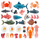 Sea food vector illustration. Seafood flat tasty cooking delicious vector illustration. Can be used for layout, advertising and web design. Gourmet restaurant Stock Photo