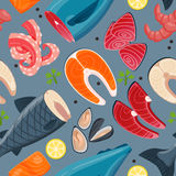 Sea food vector illustration seamless pattern Royalty Free Stock Image