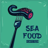 Sea food. Vintage poster with fork and octopus Royalty Free Stock Photography