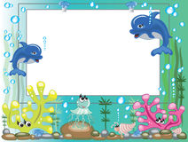Sea frame. With animals and bubbles Royalty Free Stock Photography