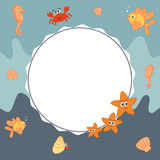 Sea frame background with cute cartoon marine world sea animals. Vector sea frame background with cute cartoon marine world sea animals Royalty Free Stock Photos