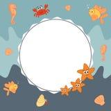 Sea frame background with cute cartoon marine world sea animals Royalty Free Stock Photos