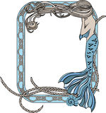 Sea frame with mermaid and knots Royalty Free Stock Photo