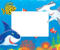 Sea frame with sharks and fishes. Clipart illustration of a stationery border or frame with a great white shark, hammerhead, scorpionfish and anemonefishes Stock Image